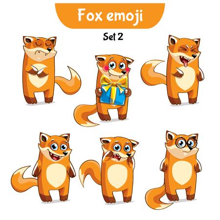 A Vector set of cute fox characters. Set 2