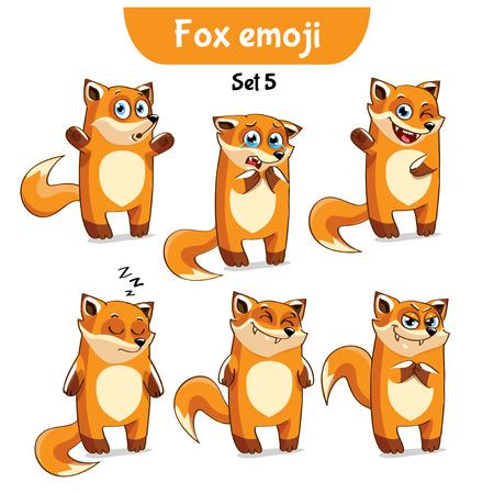 Vector set of cute fox characters.