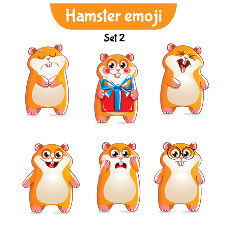 Vector set of cute hamster characters Illustration