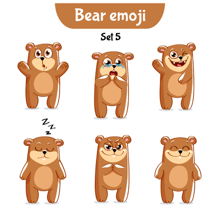 Set of cute bear characters. Illustration