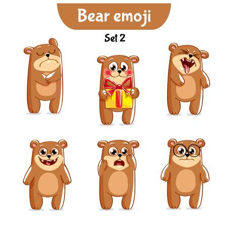 Set of cute bear characters. Illusztráció