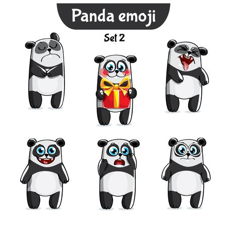 Vector set of cute panda characters. Set 2