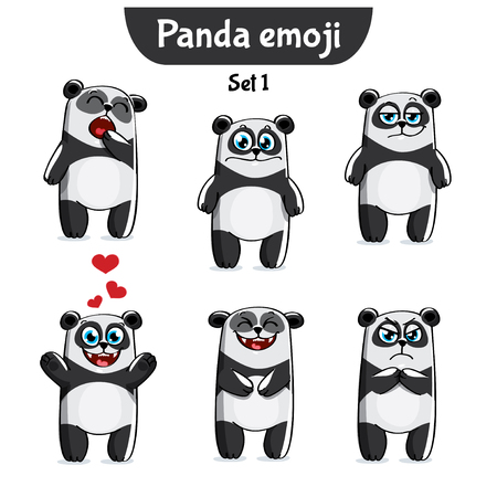 A Vector set of cute panda characters on white background. Vector Illustration