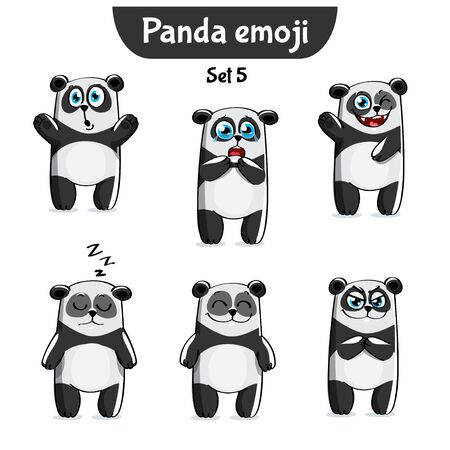 Vector set of cute panda characters. Set 5 Illustration