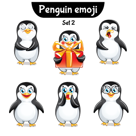 Vector set of cute penguin characters.