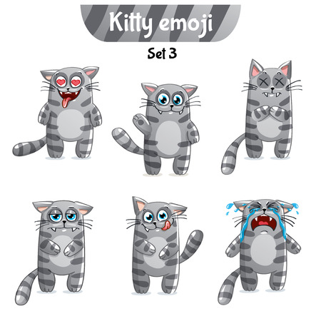Vector set of tabby cat characters. Set 3 Illustration