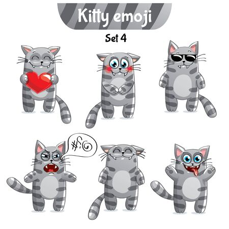 Vector set of tabby cat characters. Set 4