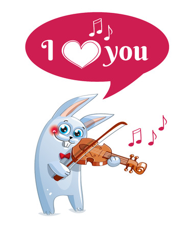 The hare plays the violin. Love