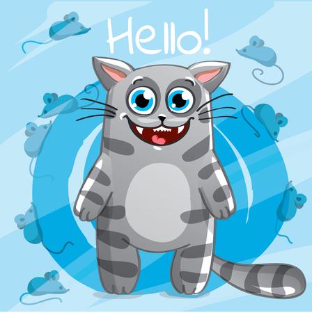 Vector illustration of cartoon cat. Hello Çizim