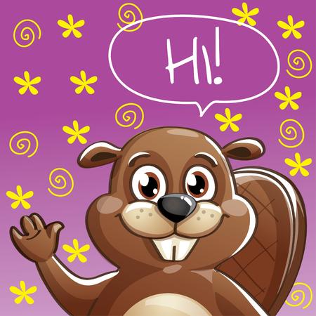 Vector illustration of cartoon beaver. Hi