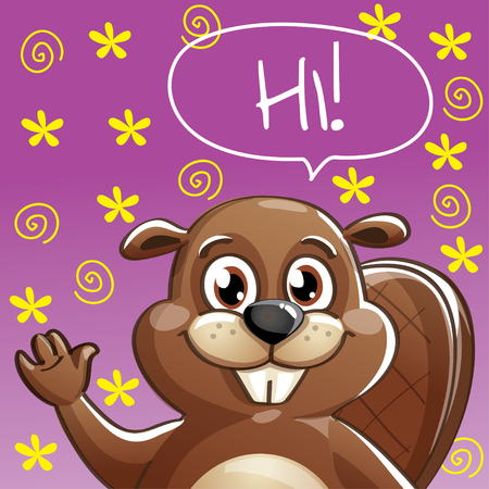 Vector illustration of cartoon beaver. Hi
