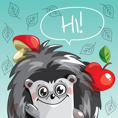 Vector illustration of cartoon hedgehog. Hi