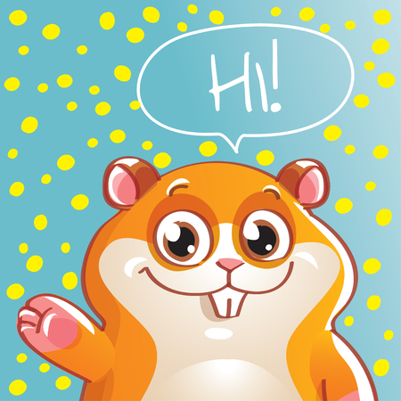 Vector illustration of cartoon hamster. Hi