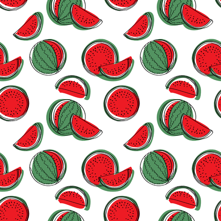 Watermelon seamless pattern background. Illustration