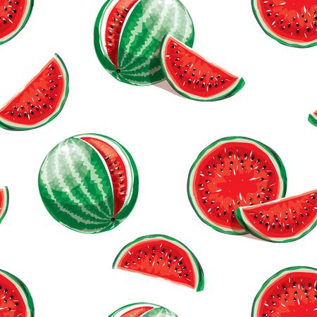 Watermelon seamless pattern background. Çizim