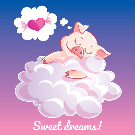 Greeting card with a cartoon pig on the cloud
