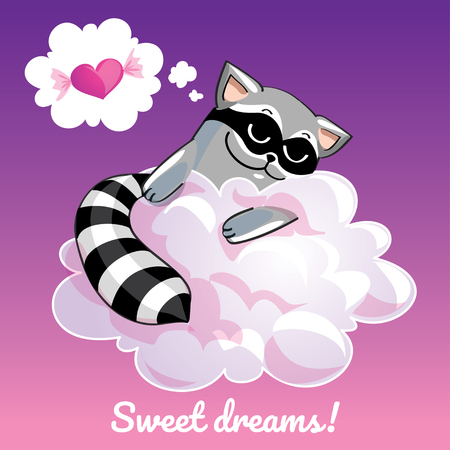 Greeting card with a cartoon raccoon on the cloud