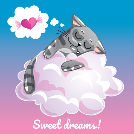 Greeting card with a cartoon cat on the cloud