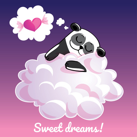 Greeting card with a cartoon panda on the cloud