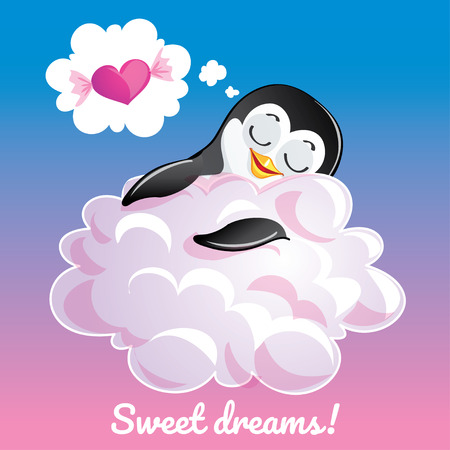 Greeting card with a cartoon penguin on the cloud