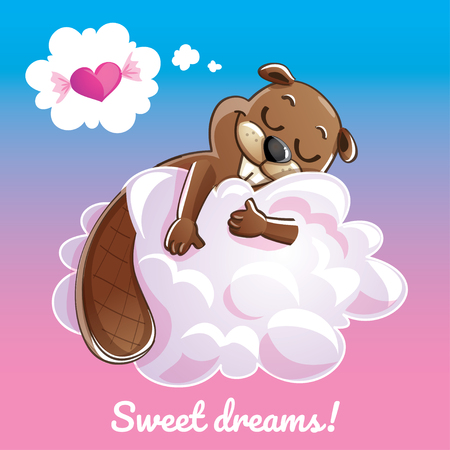 Greeting card with a cartoon animal on the cloud.