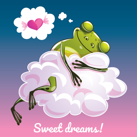 Greeting card with a cartoon frog on the cloud. Çizim