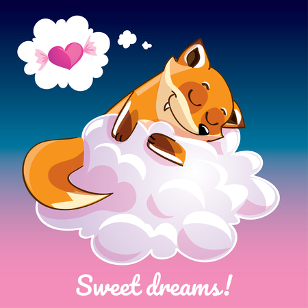 Greeting card with a cartoon fox on the cloud