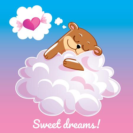Greeting card with a cartoon bear on the cloud