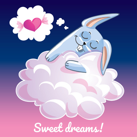 Greeting card with a cartoon bunny on the cloud