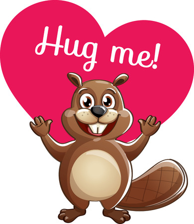 Cartoon beaver ready for a hug