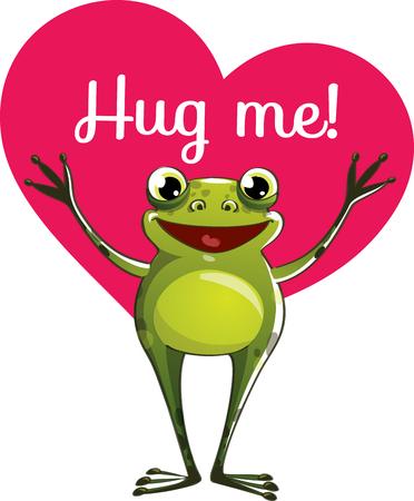Cartoon frog ready for a hug