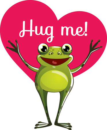 Cartoon frog ready for a hug