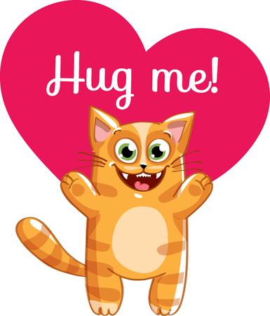 Cartoon cat ready for a hug