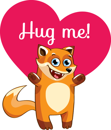 Cartoon fox ready for a hug