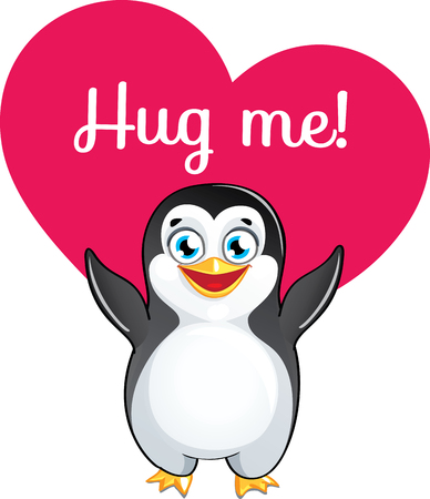 Cartoon penguin ready for a hugging Illustration