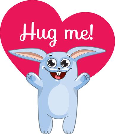 Cartoon rabbit ready for a hugging Illustration