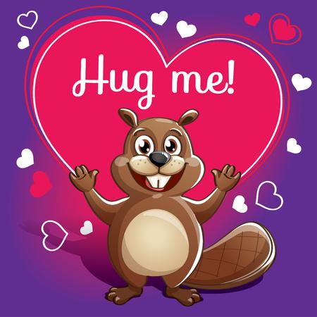 Cartoon beaver ready for a hugging. Çizim