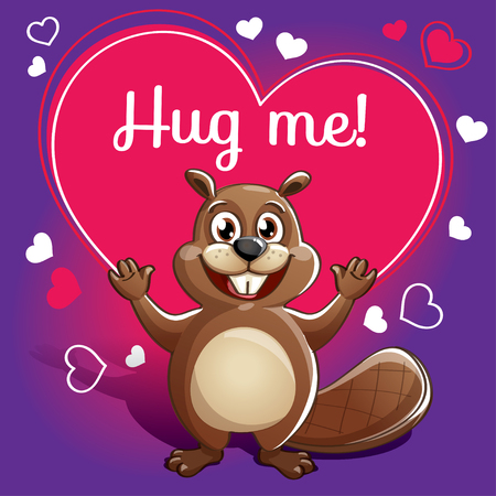 Cartoon beaver ready for a hugging. Illustration
