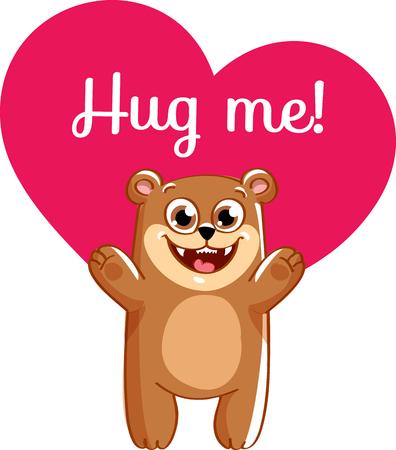 Cartoon bear ready for a hugging. Çizim