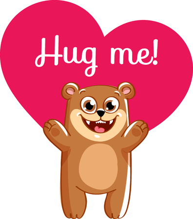 Cartoon bear ready for a hugging. Illustration