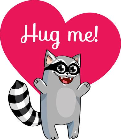 Cartoon raccoon ready for a hugging.