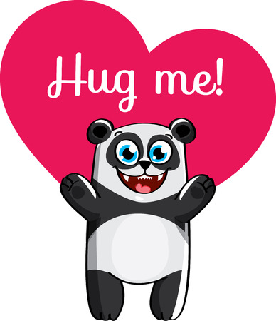 Cartoon panda ready for a hugging.