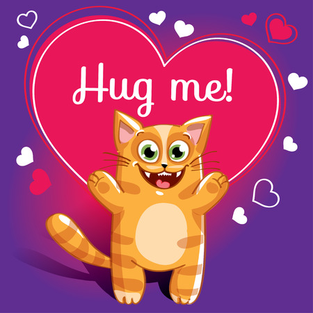 Cartoon cat ready for a hugging