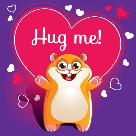 Cartoon hamster ready for a hugging Çizim