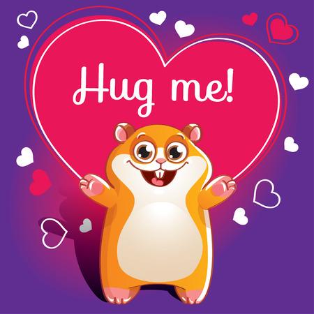 Cartoon hamster ready for a hugging Illustration