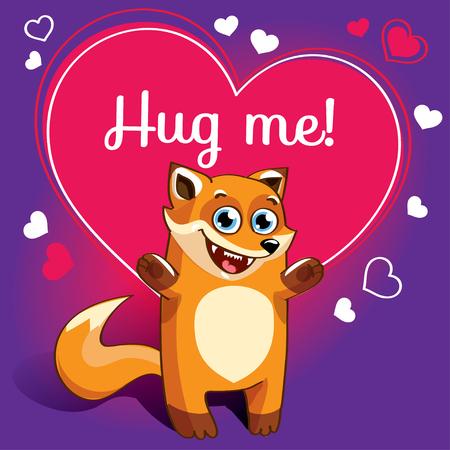 Cartoon fox ready for a hugging