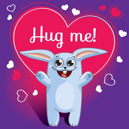 Cartoon rabbit ready for a hugging Standard-Bild