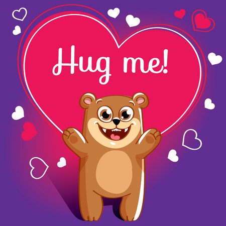 Cartoon bear ready for a hugging