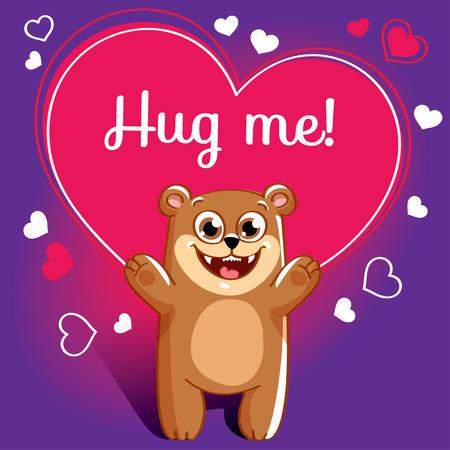 Cartoon bear ready for a hugging