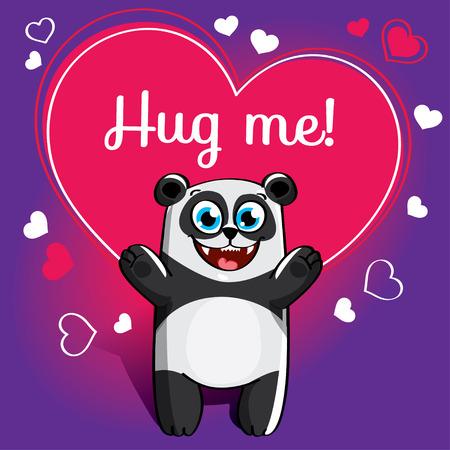 Cartoon panda ready for a hugging